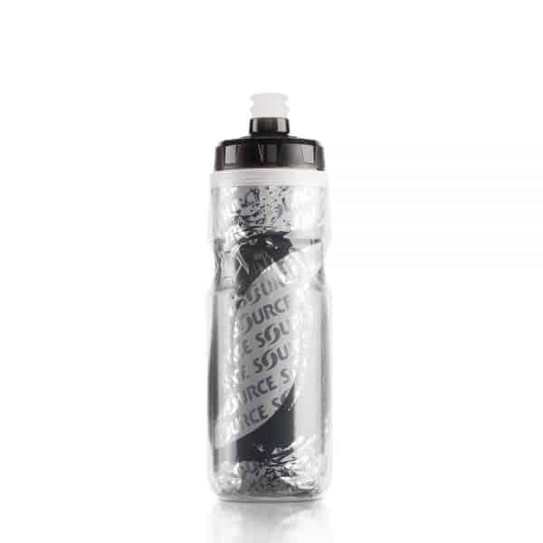 בקבוק מים ספורטיבי מבודד ולחיץ | 0.6 ליטר אפור מתכת